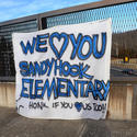 A sign in support of Sandy Hook Elementary School in Newtown