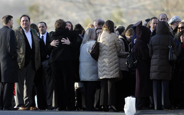 Hundreds of mourners waited outside the Munson-Lovetere Funeral Home to pay their respects to the family of Sandy Hook School principal Dawn Hochsprung.