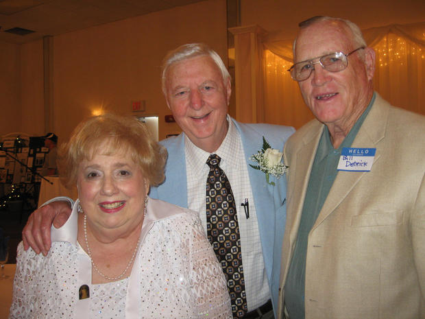 Arnold Dean celebrating his 60 years in the broadcast business were wife, Helen, and former Central Connecticut State University sports guy Bill Detrick in 2008.