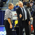 Coach Jim Calhoun Discusses A Point With An Official