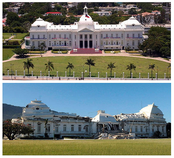 The presidential palace in the Haitian capital of Port-au-Prince is seen in 2004, top, years before it would suffer astonishing damage in a huge earthquake that devastated the impoverished island nation.