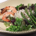 Balsamic shrimp with asparagus salad