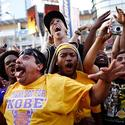 Police disperse thousands as celebrations turn ugly after Lakers' NBA Finals win