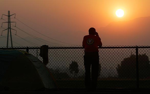 Sunrise at the Station fire command center at Hansen Dam Park. The western leg of the fire pushed toward Pacoima Canyon, prompting the evacuation of 11 homes.