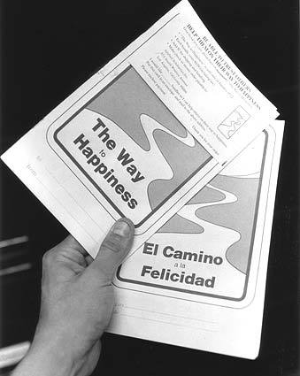 English and Spanish language Scientology pamphlets from 1984.