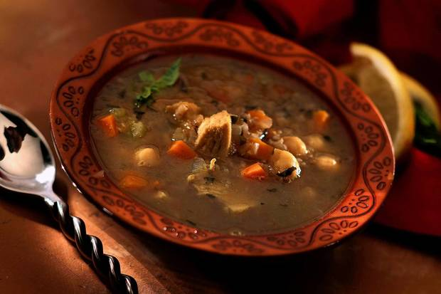 "Cayenne's Moroccan chicken soup. <a href=""http://www.latimes.com/features/food/la-fo-sos-moroccanchixsoup-20120728,0,6303120.story"">Recipe</a>."