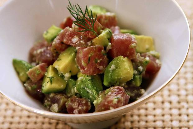 "Shio koji tuna poke. <a href=""http://www.latimes.com/features/food/la-fo-koji-recipe-20120825,0,4380574.story"">Recipe</a>"