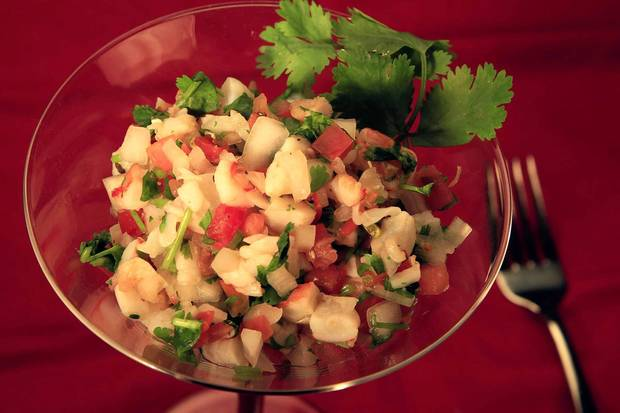 "Sweet Butter's shrimp ceviche has the fresh flavors of lemon and cilantro. <a href=""http://www.latimes.com/features/food/la-fo-sos-shrimp-ceviche-20130202,0,1524627.story"">Recipe</a>."