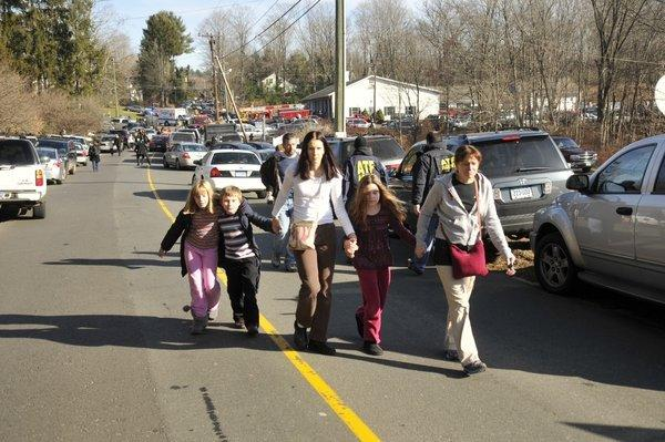 Parents gathered their children and took them home following the shootings.