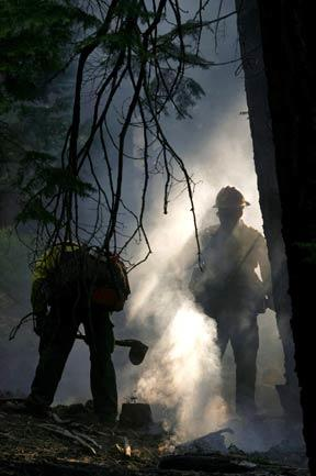 Firefighters put out hot spots in South Lake Tahoe Wednesday afternoon. California officials estimated the fire had caused $150 million in damage and forced 2,000 people from their homes.