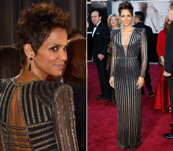Halle Berry looked fierce in a Bond-girl-meets-glam-rock way, wearing a black-and-silver striped, long-sleeve Versace gown.