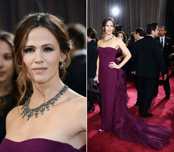 Jennifer Garner's plum-colored Gucci gown, framed by cascading ruffles, was almost as stunning as her Neil Lane necklace.