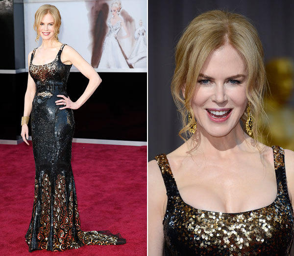 Nicole Kidman's all-over black-and-gold beaded L'Wren Scott gown was a modern art piece, with unique curlicue motifs on the skirt.