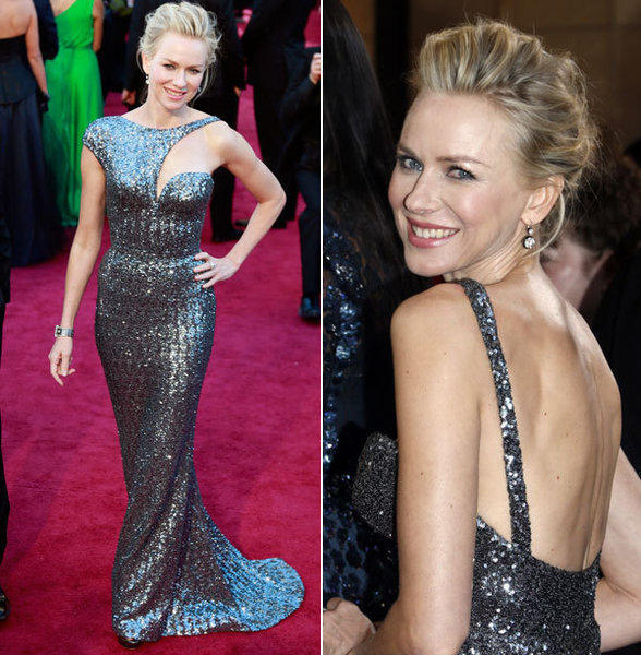 Naomi Watts' Armani gown was futuristic and edgy with all-over gun metal gray sequins and galactic-inspired cap sleeves.