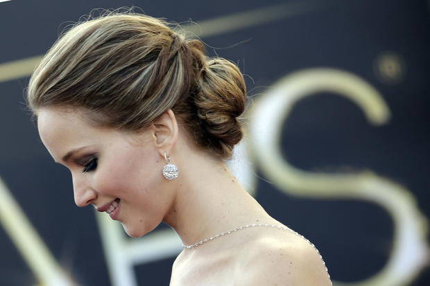 "Lead actress nominee Jennifer Lawrence (""Silver Linings Playbook"") on the red carpet."