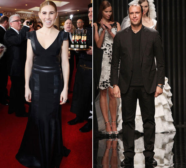 Zosia Mamet in a Tony Ward design at the 2013 Golden Globe Awards. On the right, designer Tony Ward.