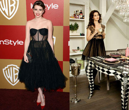 Emma Roberts in a Maria Lucia Hohan design at the 2013 Golden Globe Awards. On the right, designer Maria Lucia Hohan.