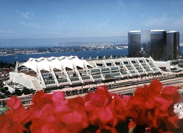San Diego Convention Center, with its unique sail canopy, was the site of the Republican National Convention in 1996. The Erickson-designed center was completed in 1989 and cost $166 million.