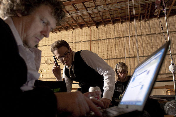 Director Michel Gondry, Seth Rogen and script supervisor Anne Rapp.