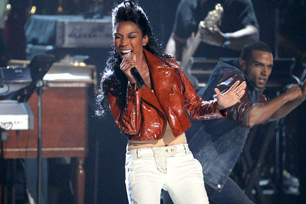 Brandy, a protege of Whitney Houston, performs during the tribute to her late mentor.