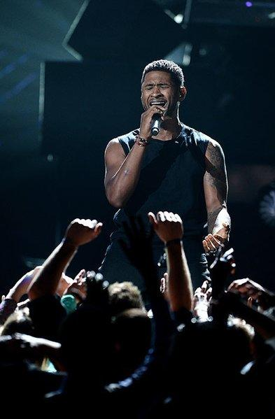 Usher performs for the crowd at the BET Awards, held at the Shrine Auditorium in Los Angeles.