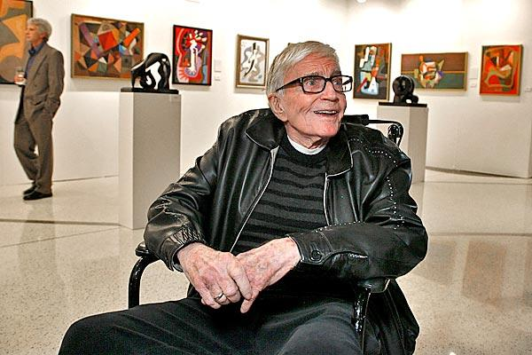 "Blake Edwards appears at ""The Art of Blake Edwards,"" a retrospective of the director's work at the Pacific Design Center.<br>