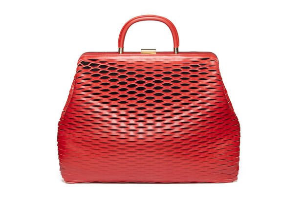 Marni red calf leather and metal bag, $1,370 at Neiman Marcus.