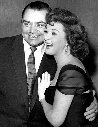 Ernest Borgnine and Susan Hayward, both Oscar nominees in 1955, share a laugh in Los Angeles in 1956.