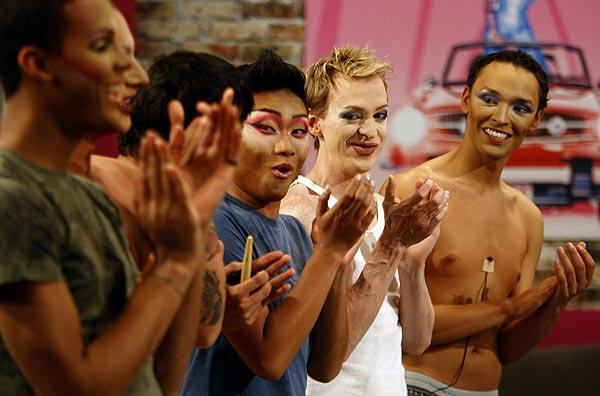 "The contestants applaud each other during a taping in Culver City of ""Drag Race,"" Season 2."