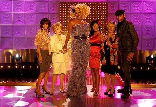 RuPaul is flanked by celebrity judges Merle Ginsberg, left, Debbie Reynolds, Toni Ko, Cloris Leachman and Santino Rice.