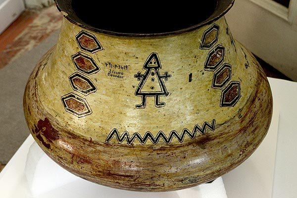 A pot from the Jivaro tribe in Ecuador, part of the collection at Southwest Museum in Los Angeles, which has an enormous collection of Native American and South American artifacts that are being restored and carefully packaged as part of a huge conservation project on May 1, 2012.  The museum was closed years ago, and new uses for it are being considered.  A building in Burbank has been purchased to house the Native American collection.