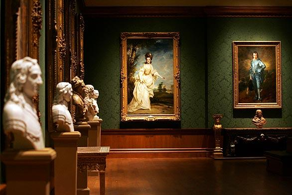 """Diana, Viscountess Crosbie"" by Joshua Reynolds, left, and ""Jonathan Buttall: The Blue Boy"" by Thomas Gainsborough hang side by side in the Thornton Portrait Gallery."