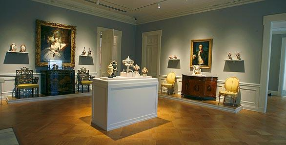 A second-floor gallery features furniture and British porcelain.