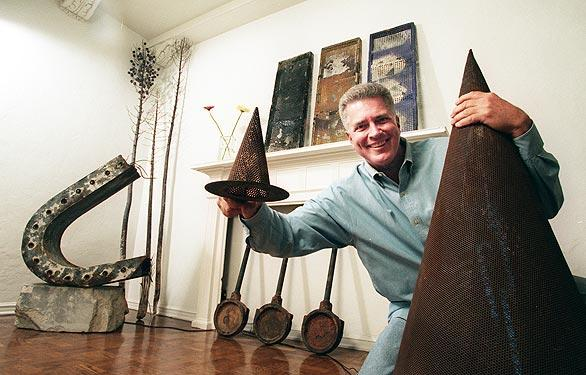 Inside his Los Angeles apartment decorated with found objects.