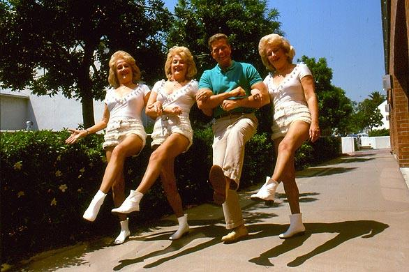 Getting in step with the Del Rubio Triplets in 1987.