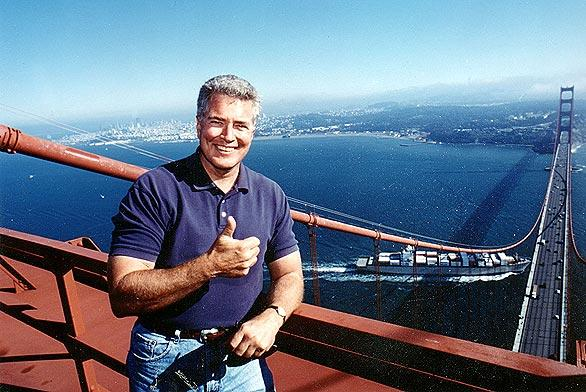 On top of the Golden Gate Bridge in San Francisco.