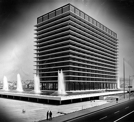The Department of Water and Power's John Ferraro Building opened in 1961. It crowns downtown L.A. alongside the Los Angeles Music Center, both of which stand on what was once a Victorian-studded neighborhood on Bunker Hill. The '60s were characterized by such massive renewal efforts. Nearly 50 years on, some victors in this tussle are now themselves in danger of tear-down.