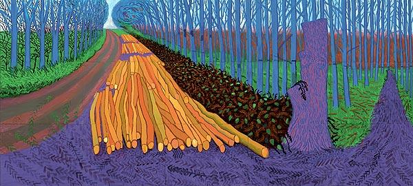 """Winter Timber,"" 2009. Oil on 15 canvases. Nine by 20 feet overall, 36 by 48 inches each canvas. © 2009 David Hockney"