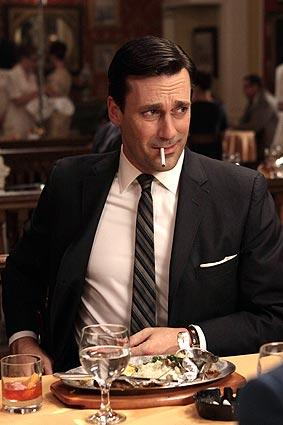 "Don Draper, the ""Mad Men"" heartthrob, is not a nice guy. He cheats on his wife, his mistress, his boss, his brother and the American public (he's an ad man for heaven's sake). But we love him, which is troubling. Jon Hamm depicts him here in an oh, so characteristic moment."
