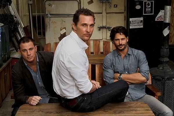 """Magic Mike's"" Channing Tatum, left, Matthew McConaughey and Joe Manganiello agree that it takes effort to be sexy onstage -- especially when you're oiled. <br>