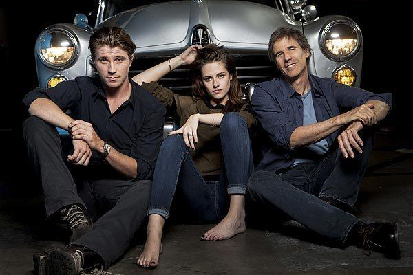 "Actors Garrett Hedlund and Kristen Stewart and director Sam Riley  with a 1941 Hudson, similar to the one used in their new movie, ""On the Road."""