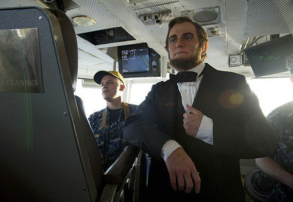 "Benjamin Walker, who plays the title role in the film ""Abraham Lincoln: Vampire Hunter,""  tours the bridge of the Nimitz-class aircraft carrier USS Abraham Lincoln (CVN 72). The film will be released nationwide June 22."