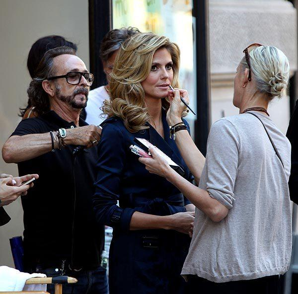 "Heidi Klum filming a commercial for ""Belladonna"" on the streets of Manhattan in New York City."