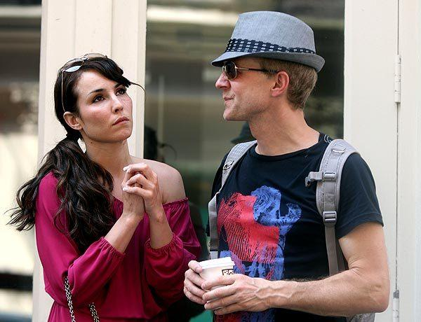 "Noomi Rapace and director Niels Arden Oplev on location in Manhattan for ""Dead Man Down."""