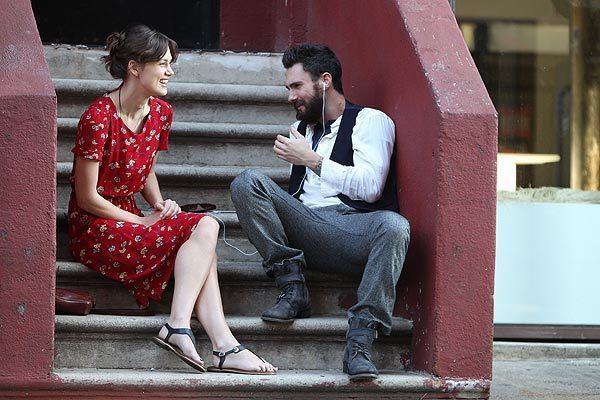 "Keira Knightley and Adam Levine on location in Manhattan for ""Can a Song Save Your Life?"""