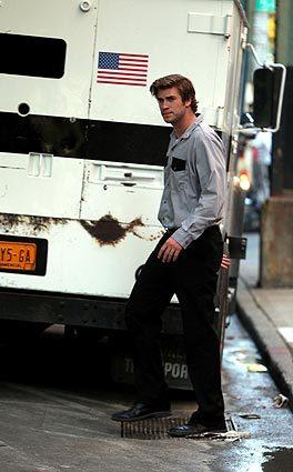 "Liam Hemsworth on location in New York City for ""Empire State."""