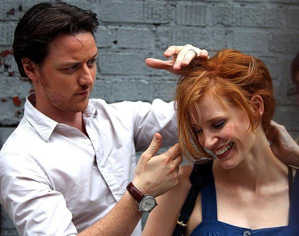 "James McAvoy and Jessica Chastain are filming ""The Disappearance of Eleanor Rigby"" on the streets of Manhattan on July 12."