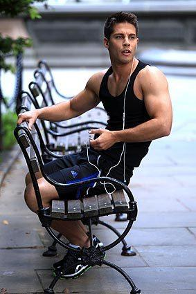 "Dean Geyer filming ""Glee"" on location in Manhattan."