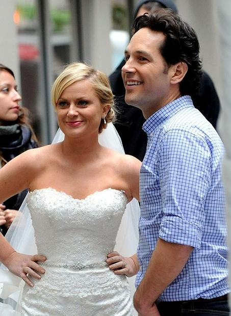 "Paul Rudd and Amy Poehler on location in New York City for ""They Came Together."""