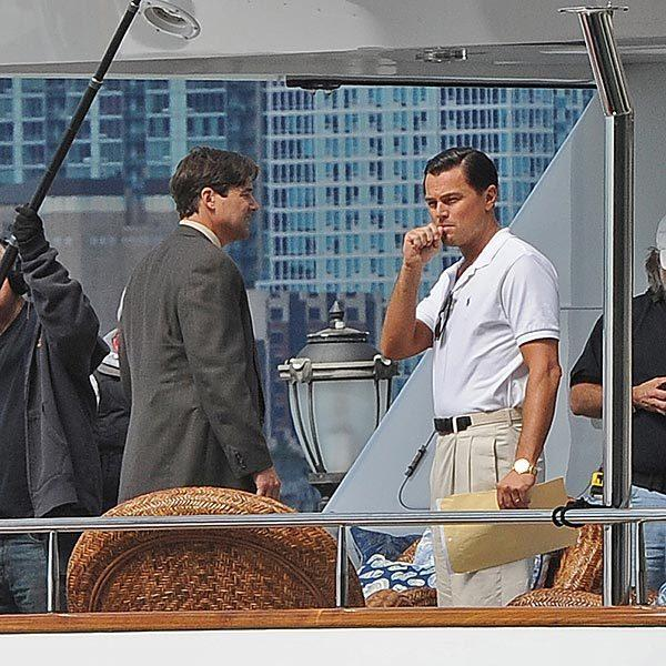 "Leonardo DiCaprio on the New York City set of ""The Wolf of Wall Street."""